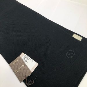 GUCCI Mens One GG Long Tricot Wool Scarf